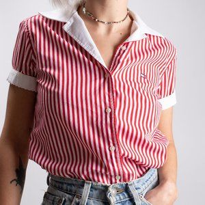 Tommy Red & White Striped Button Down Short Sleeve